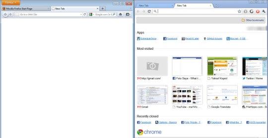 Firefox 4 VS Chrome - New Tab
